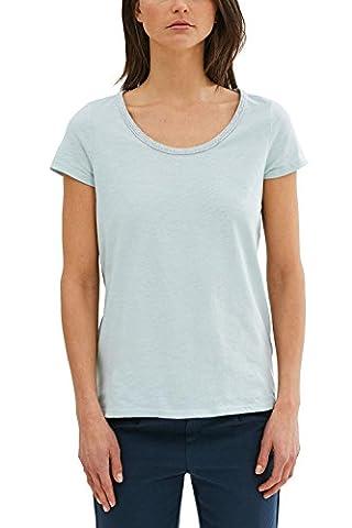 ESPRIT Damen T-Shirt 047EE1K003, Gr. 40 (Herstellergröße: L), Grün (Aqua Green 380) (Aqua Ärmel)