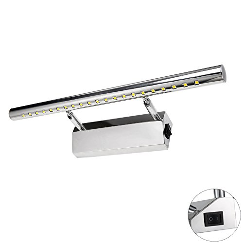 Liqoo Spiegelleuchte mit Schalter 5W LED Spiegellampe Bad Wandlampe Badlampe Badleuchte Bildleuchte Schrankleuchte Warmweiß 3000K 350Lumen 180°einstellbar Länge 40cm (Led-schalter)