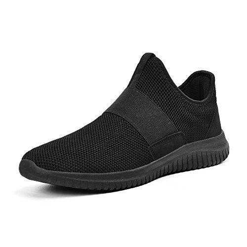 ZOCAVIA Sportschuhe Slip on Leicht Laufschuhe Sneaker Atmungsaktiv Freizeitschuhe Damen Herren Schwarz 44 EU