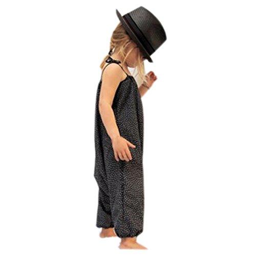 Leinwand Falten Anzug (Bekleidung Longra Kleinkind Kind Baby Mädchen Riemen Overalls Stück Hosen Rompers Jumpsuits Mädchen Sommerkleidung(1-6Jahre) (130CM 5-6Jahre, Black2))