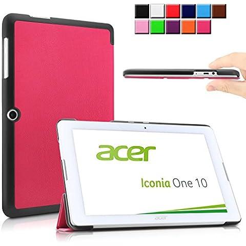 Infiland Acer Iconia One 10 B3-A20 Funda Case-Ultra Delgada Tri-Fold Case Cover PU Cuero Cascara con Soporte para Acer ICONIA ONE 10 B3-A20-K1Q6 - tableta - Android 5.1 - 32 GB - (10,1 pulgadas)