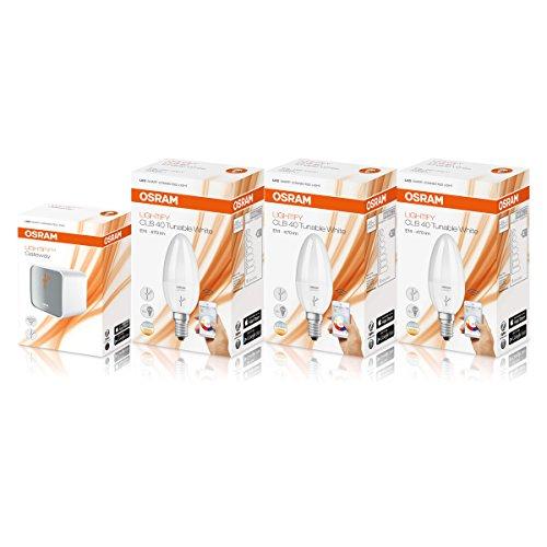 Osram Lightify Smart Home LED-Birnen-Set E14, inkl. Osram Lightify Gatewat und 3Osram Lightify Smart Home LED-Leuchtmittel E14 – 6W / 40W, Ersatz, dimmbar, warmweiß bis Tageslicht, 2700K–6500K, funktioniert mit Amazon Alexa