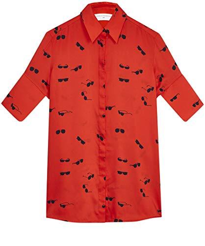 Victoria Victoria Beckham Damen Kurzärmel Sonnenbrille Print-Shirt Rot DE 38