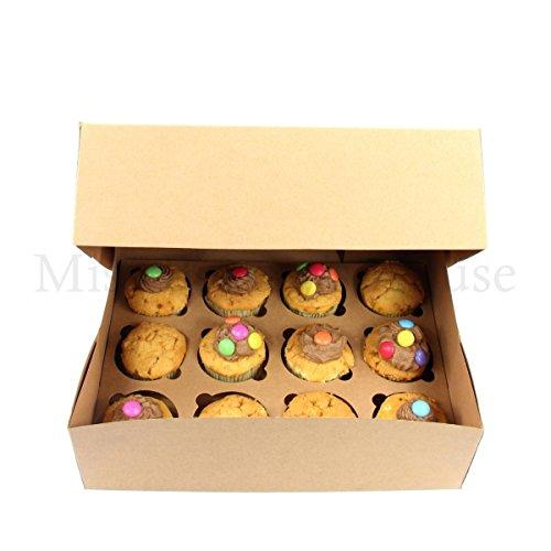 Miss Bakery's House® Cupcake Box - 12er - Braun - 10 Stück - Transportbox Muffins