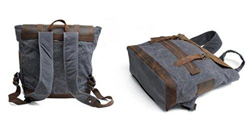 Great Strange Zwei-Schulter-Rucksack für Männer und Frauen Canvas Leder Freizeit Reise Bewegung Vier Farben 33 * 18 * 38cm 1.2KG , black deep grey