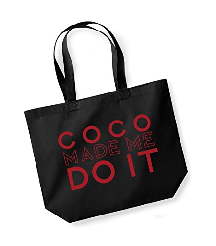 Coco Made Me Do It - Large Canvas Fun Slogan Tote Bag Black/Red