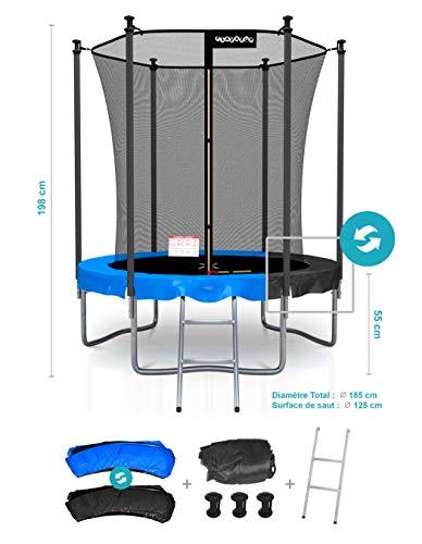 PLAY4FUN Trampoline de Jardin Classique 6FT ø185cm Pack trampo avec Matelas Réversible Bleu/Noir, Echelle, Filet de sécurité, Tapis de Saut
