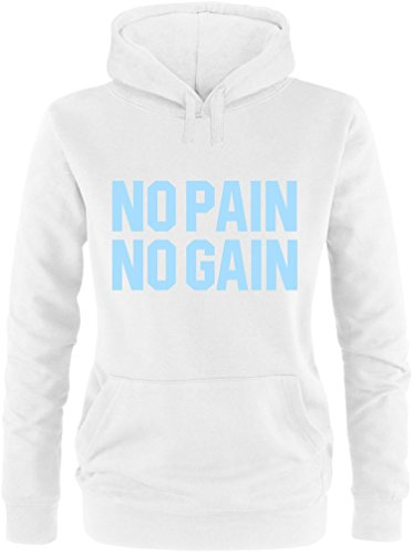 EZYshirt® No Pain No Gain vol. 3 Damen Hoodie Weiss/Hellblau