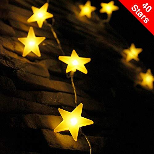 LED Lichterkette mit batterie, von myCozyLite, 40 warmweiße Sterne, für Innen und Außen Dekoration wie Zimmer, Weihnachten, Geburtstag, Garten, Party, Kinderzimmer, 5m