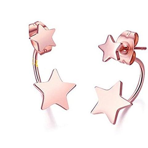 FindOut ladies14K plaqué or rose de titane acier boucles d'oreilles de la chance de pentagramme étoiles, pour les femmes les filles, (f1602)