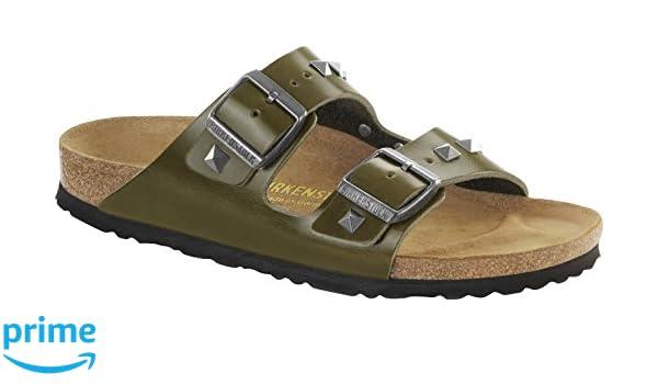 fe368db04a0dc9 BIRKENSTOCK Arizona Nieten Leder Damen Pantolette Olivex (40 EU)   Amazon.de  Schuhe   Handtaschen