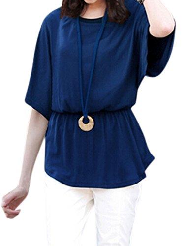 sourcingmap Femme Taille Élastique Manches chauve-souris Chemisier w Pull Collier Avec Corde Bleu