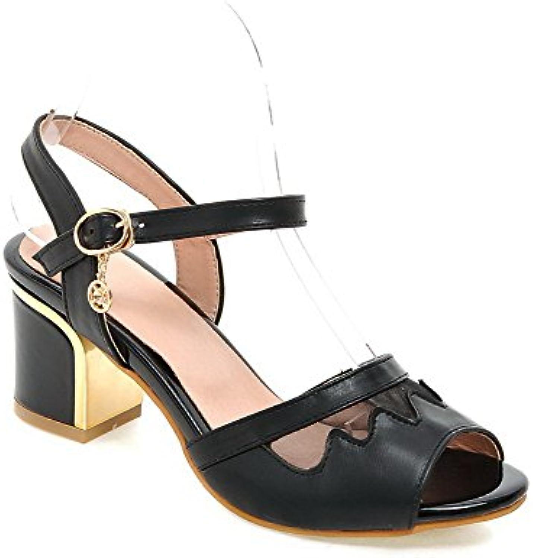 VogueZone009 Mujeres Tacón ancho Sólido Puntera Abierta Sandalias de vestir con Colgantes
