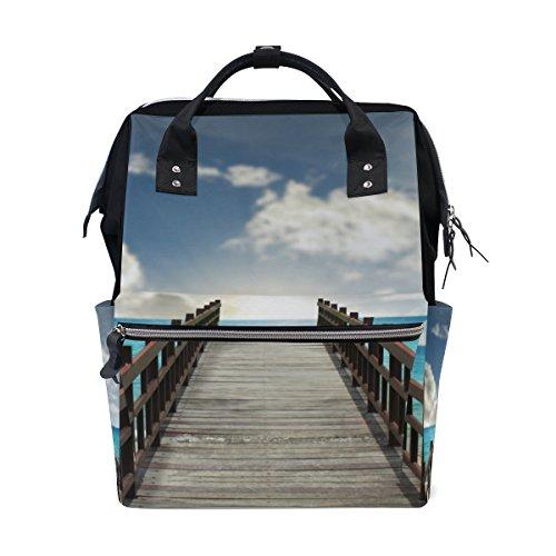 dschaft Brücke in Sea Nappy Wickeltasche Windel Rucksacks mit Insulated Taschen Stroller Straps, großen Kapazitäts-Multi-Funktions-stilvoller Windel-Tasche für Mama Dad Außen Gro ()
