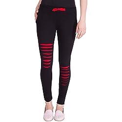 American-Elm Women's Black Designer Cotton Track Pant