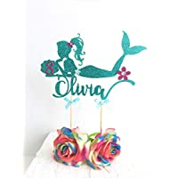 Mermaid Cake Topper. Customised with Name and Age. Mermaid Birthday Party Decoration