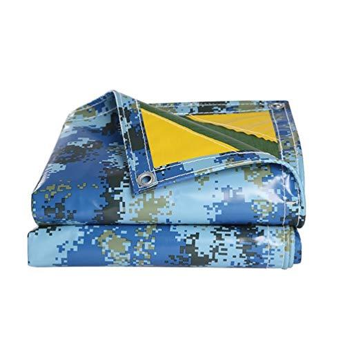FJDEYB Blue Camouflage Tent Tarpaulin Shelter 450 g/m² Robuste 15-mil-Plane mit PVC-Beschichtung, UV-geschützter Regenschutz, Außenabdeckungen for Anhänger, Wohnmobile, Boote, Autos und Pools -