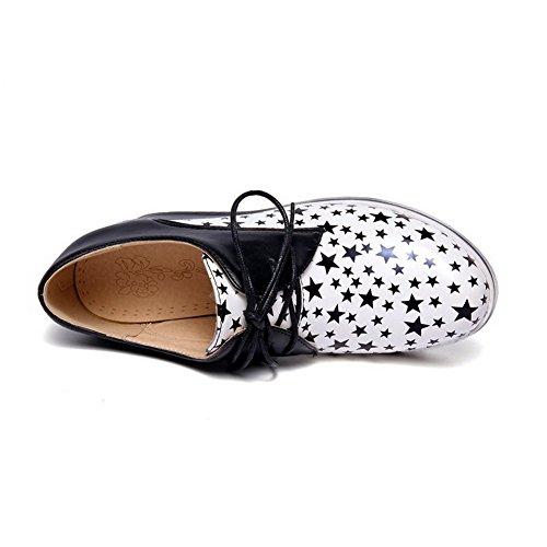 AllhqFashion Damen Hoher Absatz Gemischte Farbe Schnüren Rund Schließen Zehe Pumps Schuhe Weiß
