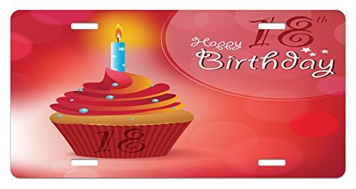 Jiuying pillow 18th Birthday License Plate by, Sweet Eighteen Party Birthday Cupcake with Candles Artwork Print, High Gloss Aluminum Novelty Plate, 5.88 L X 11.88 W Inches, Hot Pink Red and Orange
