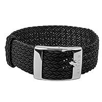EULIT Horlogeband parelonband | doortrekband, zwart in 28929S, brugbreedte: 20 mm
