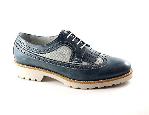 NERO GIARDINI 17193 blu navy scarpe donna pelle francesina inglese frangia Blu