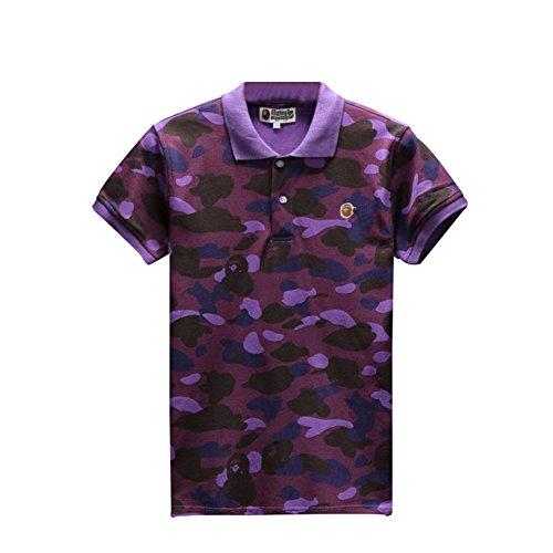 BOMOVO BAPE Camouflage Baumwolle Kurzarm T-Shirt Violett
