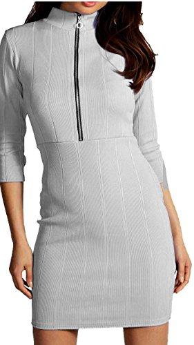 Re Tech UK - Robe - Moulante - Manches 3/4 - Femme Noir Noir Noir - Gris clair
