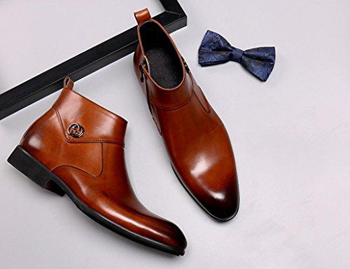 Scarpe Uomo in Pelle Scarpe da uomo in pelle Short Martin Boots Scarpe high-top da lavoro a punta stile britannico ( Colore : Yellow-brown , dimensioni : EU 41/UK7 ) Yellow-brown