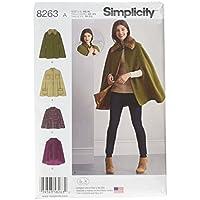 Simplicity Patrón de Costura Pattern 8263A para Capas y Toreras de Mujer, Blanco, Diferentes Tallas