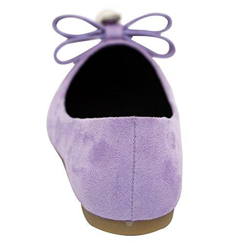 AalarDom Femme Pointu Tire Non Talon Couleur Unie Chaussures à Plat Violet-Bijou