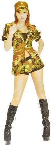 Kostüm Set Soldat (Sexy Soldatin-Kostüm Damen Army-Verkleidung Gr. 40/42 Armee Offizier Bund Soldat Navy Kurz Heiss Fasching Rollenspiele Karneval Halloween Tarn-Muster Grün)