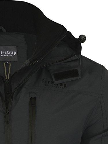 Neue Herren Firetrap gebrandmarkt Sommerjacke lässig wasserdicht Kapuzenmantel Black