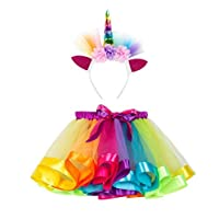 Little Girls Layered Rainbow Tutu Skirts with Unicorn Horn Headband Multicolor