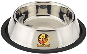 Foodie Puppies Stainless Steel Anti Skid Dog/Pet Feeding Bowl (Steel, Medium Size)