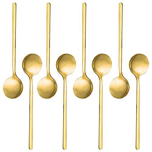 SourceTon Mini Teelöffel, vergoldet, Edelstahl, für Kaffee, Zucker, Dessert, Kuchen, Eis, Suppe, Antipasto, Cappuccino, 13,3 cm, 8 Stück