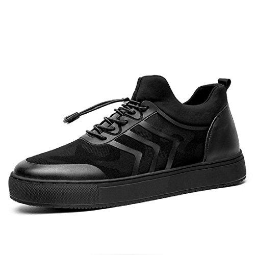 Homme Bas Épais Respirant Ballerines Baskets Mode Augmente Les Chaussures Antidérapantes Loisir Chaussures Euro Taille 39-44 Noir
