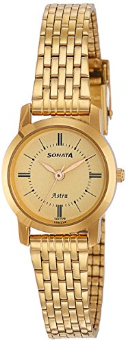 Sonata Analog Champagne Dial Women's Watch-NK87018YM01