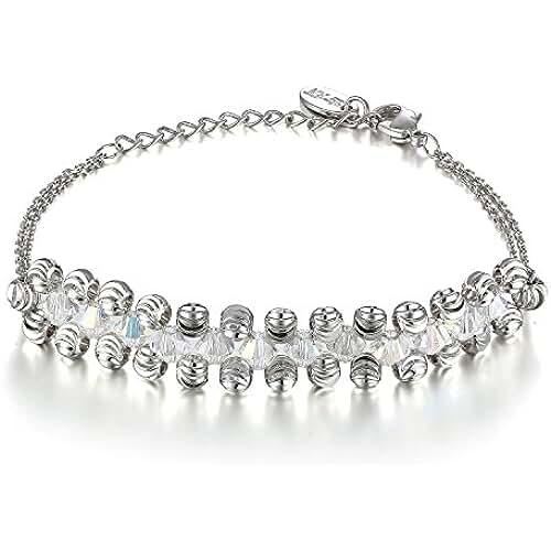 ofertas para el dia de la madre ♥Regalo Día de la Madre♥ Menton ezil Love kniter tejido 18 K oro blanco CZ Diamantes Hollow Out 7 pulgadas brazalete pulsera Mujeres joyas
