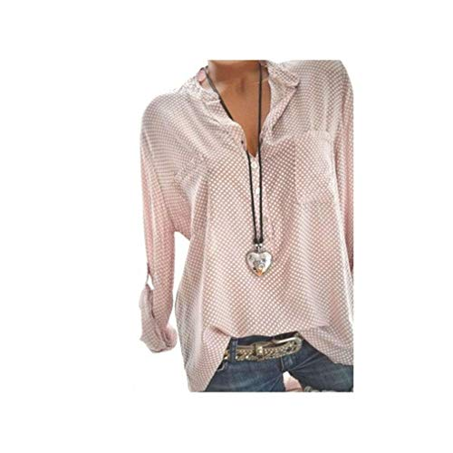 Women's Shirts Tops Loose V Neck Polka Dot Printed Blouse Plus Size Blusas Elegante -