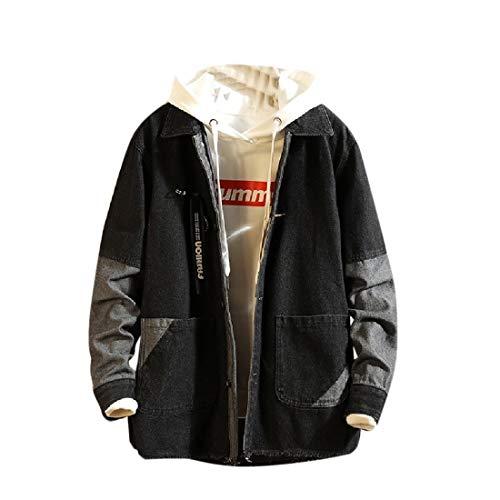 Andode Men's Pockets Button Patched Vingtage Loose Denim Jacket Coat Black L Sherpa Lined Denim