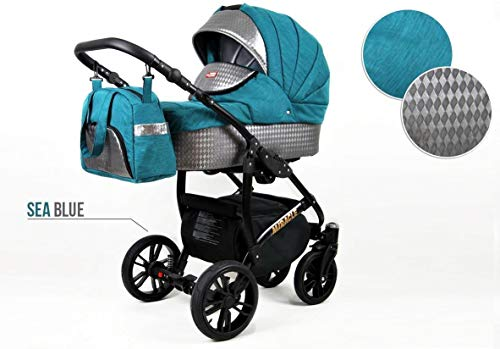 Lux4Kids Kinderwagen BlackOne 3in1 2in1 Megaset Buggy Autositz Babyschale Sportsitz Sea Blue 2in1 ohne Autositz