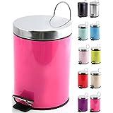 MSV Poubelle à cosmétiques Acier Inoxydable Pink avec Récipient intérieur Amovible Salle de Bains Poubelle à pédale Boîte à o
