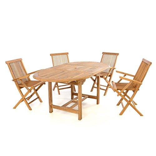 Divero Gartenmöbel-Set Terrassenmöbel-Garnitur Sitzgruppe – Esstisch 120/170 cm Ausziehbar & 4X...