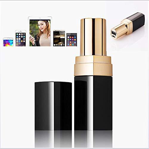 ANNW Tragbare Ladegerät 3000mAh Frauen Mini Lippenstift Energie Bank Lithium Batterie Pack für Smartphone oder Tablette,Black