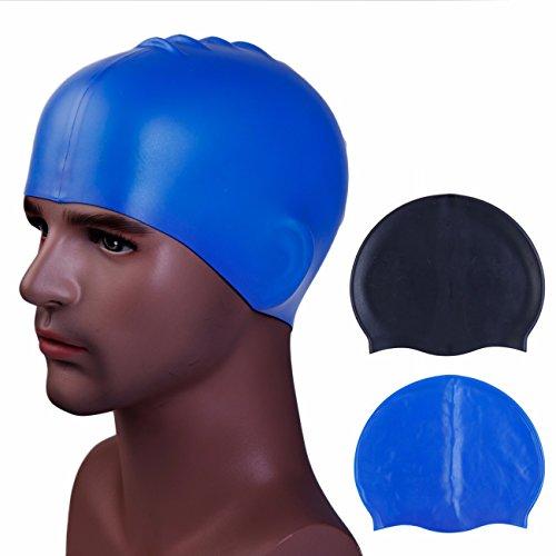 Hochwertige Silikon Badekappe für Kinder Damen Herren Bademütze Badehaube für lange Haare gesund und warm Swim Cap