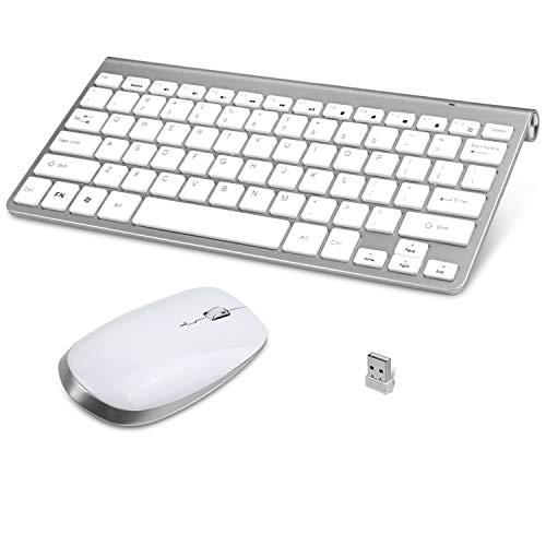 FENIFOX Mini Tastatur Maus Set Kabellos, QWERTY Layout Amerikanisch Wireless Keyboard Mouse mit Flüsternd Key, 2.4 GHZ Wireless für Computer/Laptop/Tablet - Weiß und Silber