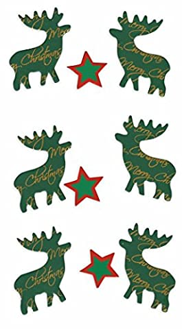 Rössler–9005–112Merry Christmas Elch Holz Aufkleber (6Stück)