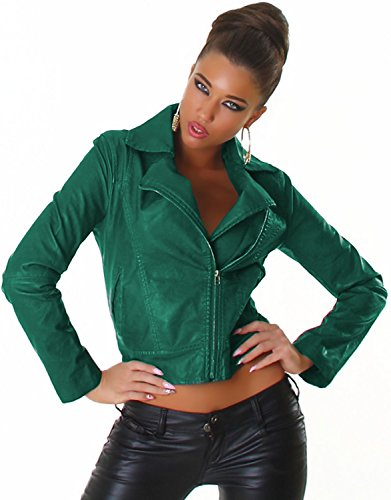 Voyelles Damen Jacke in Lederoptik mit Kragen und diagonalem Metallreißverschluss Grün
