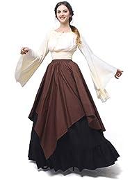 Nuoqi Damen Mittelalterliche Königin Kleid Langarm Maxi Kleid Party Kostüm