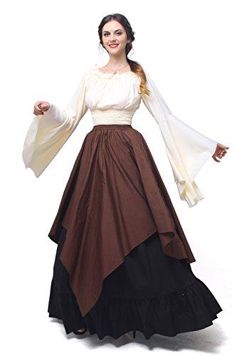 Prinzessin Mädchen Kostüm Mittelalterliche (Damen mittelalterliche Gothic viktorianischen Königin Kostüm Langarm Maxi Party Kleid Top und)
